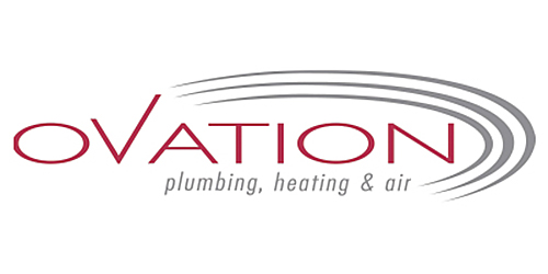Ovation plumbing, heating, and air logo